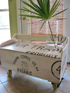 faux shipping crate bench