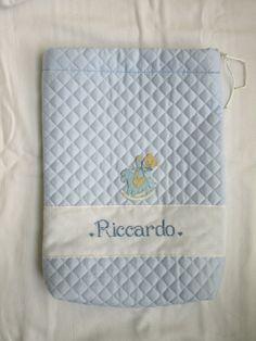 Sacchetto Nascita Trapuntato  personalizzato per Riccardo;  sito web:  http://lecreazionidimichela.it.gg/HOME.htm