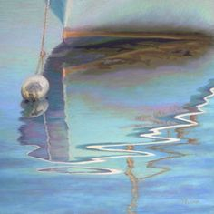 Calm Cape Cod Boat Reflection Pastel Art by Poucher, original painting by artist Nancy Poucher | DailyPainters.com