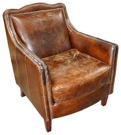 Club Chair, Leather - contemporary - chairs - los angeles - by LDC Home