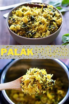 Palak pulao with paneer is an easy, light and fresh pulao recipe that's bursting with the goodness of spinach and Indian cottage cheese. Pair it with a raita (yogurt dip) and salad for a simple and fuss-free meal. Indian Paneer Recipes, Indian Food Recipes, Vegetarian Recipes, Healthy Recipes, Cumin Rice Recipe, Rice Dishes, Tasty Dishes, Spinach Rice