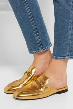 9174431cb63 Gucci - Princetown horsebit-detailed metallic leather slippers