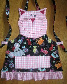 Crayon Kids delantal PINK CAT Delantal de cocina Jardín Por KiddieKOVE