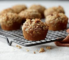 Pumpkin Streusel Muffins, a recipe from Panera Bread.  This batter is delicious, but they call for a cinnamon chip scone for the streusel.  You can substitute another streusel recipe - but don't use theirs - its proportions are off - and make sure to put on lots!  The muffins rise a lot and need plenty of streusel to cover their tops when they've finished baking.