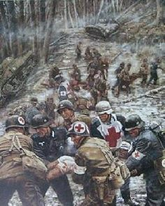 Battle of Hurtgen Forest. The lines fluctuated so much in the fighting that eventually medics stopped evacuating back and forth- US Army and German medics simply operated the same field hospitals alongside each other. Army Medic, Combat Medic, Military Art, Military History, Ww2 Pictures, Ardennes, American Soldiers, Panzer, Luftwaffe