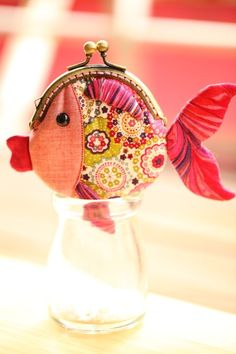 Tiny red goldfish clutch purse from Misala Handmade Bags & Purses