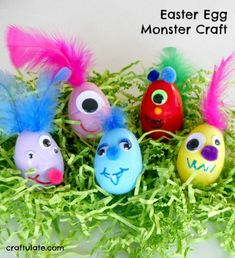 Kids will love making this silly Easter Egg Monster craft - using plastic eggs, feathers, googly eyes, and pom poms!