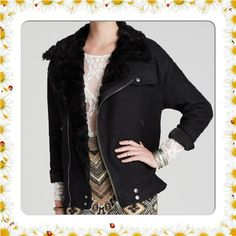 FREE PEOPLE FAUX-FUR SLOUCHY WOOL JACKET NWT$268 Bundle up in Free People's wool take on the classic bomber, finished with cozy faux-fur trim. Wool/viscose; fake-fur lining: polyester/acrylic Dry clean Imported Stand collar Point lapel Asymmetrical zipper closure at front Long sleeves with buttoned cuffs Buttoned pocket at left chest and zipper welt pockets at side waist Allover solid knit with fake-fur lining Fitted Unlined Mid-weight Hits at low hip Free People Jackets & Coats