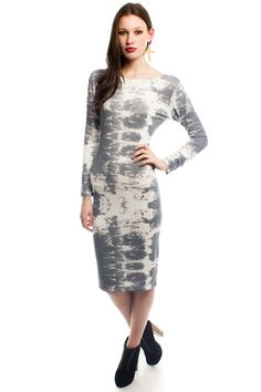 Kimmy Tie Dye Midi Dress in Grey