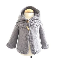 Top-down Baby and Children Cable Yoke Jacket