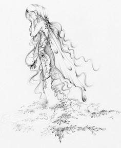 Pencil Drawing Illustration Heartbroken Fairy by ABitofWhimsyArt, $30.00