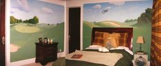 Cason would FLIP if I did this in his room!! Kid is golf crazy!