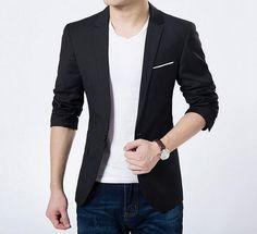 98d16892418 Men Slim Fit Black Sports Jacket Blazers For Men