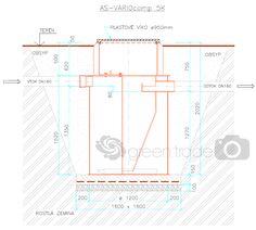 Domácí čistička AS-VARIOcomp 5K osazení do terénu Floor Plans, Diagram, Floor Plan Drawing, House Floor Plans