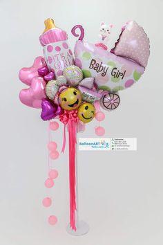 Baby Shower Deco, Fiesta Baby Shower, Baby Girl Shower Themes, Baby Shower Balloons, Baby Shower Parties, Baby Shower Gifts, Balloon Arrangements, Balloon Centerpieces, Balloon Decorations