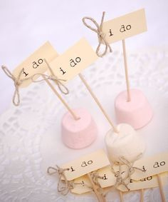 I Do Cupcake Sticks in buttercream with twine by vintage twee on Etsy