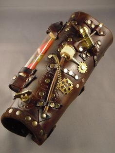 leather bracer Remove steampunk and make pockets for usable items Smooth one side for archery operations.