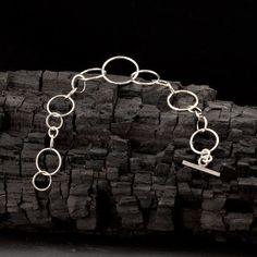 Sterling Silver Bracelet Circle Link Bracelet Charm by Artulia