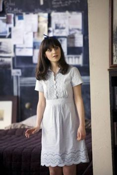 Zooey Deschanel's Blue Dress from 500 Days of Summer.  Outfit Details: http://wwzdw.com/z/182/ #WWZDW