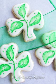 Shamrock Sugar Cookies | Art and the Kitchen -a great tasting sugar cookie decorated for St. Patrick's Day