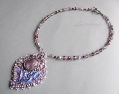 Bead embroidery pendant with shibori silk ribbon and a gemstone