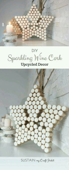Best Diy Crafts Ideas DIY decorative star and Christmas tree crafts upcycled from wine bottle corks. A lovely gift idea that's beautiful on its own or could be used as a pot holder on the kitchen table. -Read More – Wine Craft, Wine Cork Crafts, Wine Bottle Crafts, Christmas Tree Crafts, Holiday Crafts, Christmas Decorations, Christmas Holidays, Tree Decorations, Christmas Centerpieces