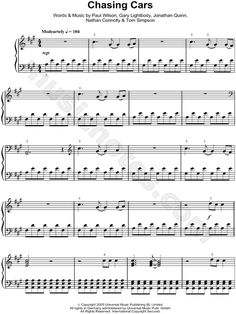 Chasing Cars sheet music by Snow Patrol