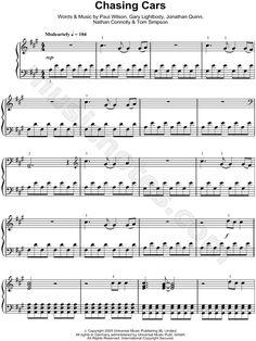 Chasing Cars sheet music by Snow Patrol
