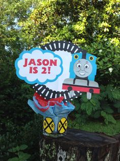 Personalized Thomas the Train centerpiece from Etsy