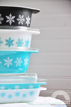 some of my vintage Pyrex snowflake  (check out the black dish; absolutely love!)