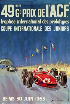 Michel Beligond's 49th Grand Prix de l'ACF 1963 poster, £450, from Historic Car Art