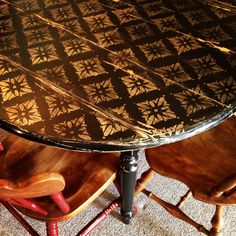 Stenciled shabby table. It was a blonde wood Target table. I painted black, used antique gold stenciling, distressed to antique it.