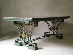 Exceptional Wrought Iron and Brocatelle Marble Table, France, 1940s 2