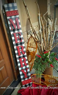 The Perfect Holiday Front Porch Leaner Welcome Sign - Merry - Christmas Sign - Holiday Decor- Buffalo plaid- Buffalo check - rustic Christmas Wood Crafts, Merry Christmas Sign, Christmas Signs Wood, Woodland Christmas, Christmas Porch, Farmhouse Christmas Decor, Christmas Projects, Plaid Christmas, Homemade Christmas