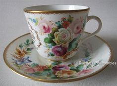 VICTORIAN INSCRIBED HANDPAINTED BUTTERFLY & FLORAL  MOUSTACHE CUP & SAUCER