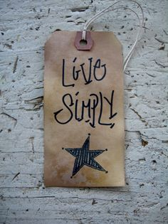 Primitive Country Rustic Hang Tag Gift Tag Craft supply Live Simply Folk Art Star 25 Tags large on Etsy, $7.99