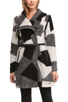 "Buy Desigual Coat ""Sidney"" 48E2968 2020. Desigual black and white wool coat with unique design, zipper, faux leather detailing on pockets, belt. Warm."