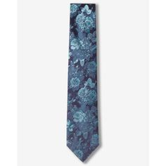 Express Narrow Floral Silk Tie ($50) ❤ liked on Polyvore featuring men's fashion, men's accessories, men's neckwear, ties and blue