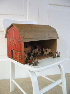 Vintage Wood Toy Barn Children Farm Animals Red by @vintagejane, $59.00