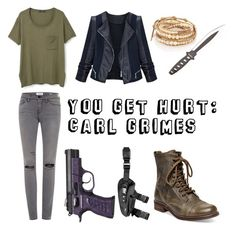 """""""You Get Hurt: Carl Grimes"""" by mcglitterpawz ❤ liked on Polyvore featuring art"""