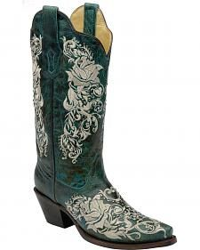 Corral Rose & Vine Embroidered Distressed Turquoise Cowgirl Boots - Snip Toe