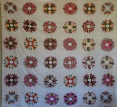 c1850 Mariner's Compass Quilt TOP Fabulous Calicoes!!!  Cow Hollow Collectibles…