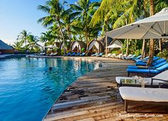 See the beautiful Four Seasons Bora Bora pool and beach. Bora Bora Resorts, Four Seasons Bora Bora, Beautiful Islands, Sun Lounger, Google Images, Pools, Patio, Beach, Outdoor Decor