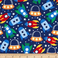 Michael Miller Retro Space Station Primary from From Michael… Baby Boys, Toddler Bed Sheets, Space Fabric, Colorful Interior Design, Nursing Pillow Cover, Baby Boy Bedding, Decoupage, Retro Fabric, Michael Miller