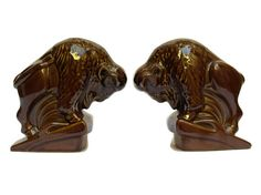 Ceramic Bison Bookends. Hunting Decor. Gifts by LeBonheurDuJour
