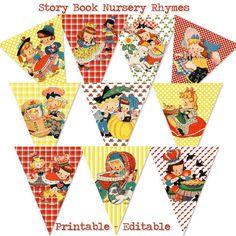 Story Book Banner Mother Goose Nursery Rhymes by hedgehogstudio, $5.00