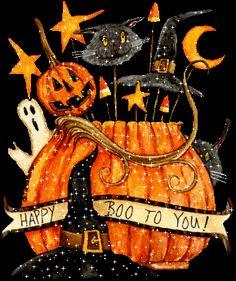 Happy Halloween to you! Happy Halloween Gif, Happy Halloween Pictures, Adornos Halloween, Halloween Greetings, Theme Halloween, Halloween Clipart, Halloween Images, Holidays Halloween, Spooky Halloween
