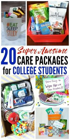This is an amazing list of care package ideas for college students! From finals . , This is an amazing list of care package ideas for college students! From finals survival kits to treats from home, there& something for everyone! Bags For College Students, College Student Gifts, College Graduation, Graduation Gifts, Care Packages For College Boys, Gifts For College Girls, Care Package College, Graduation Gift Baskets, High School Grad Gifts