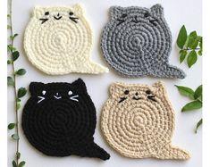 Cat Face Coasters set of 6 Crochet Cat Head Coasters Etsy Chat Crochet, Crochet Video, Crochet Home, Crochet Lion, Holiday Crochet, Christmas Knitting, Easy Crochet, Easy Knitting Projects, Crochet Projects