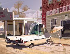 #XoanBaltar #car #city #draw #digitalpaint #white #taxi